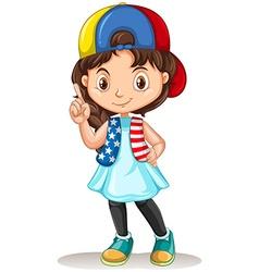 Little girl pointing the finger vector image
