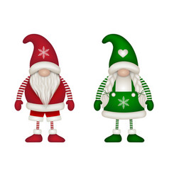 male and female christmas gnomes vector image