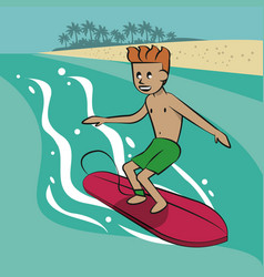 man surfing cartoon vector image
