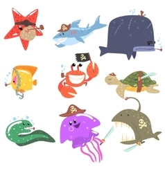 Marine Animals And Underwater Wildlife With Pirate vector