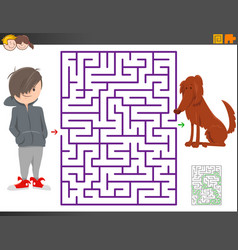 maze game with cartoon boy and dog character vector image