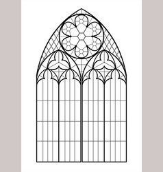 Medieval gothic contour window vector