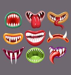 monster mouths set vector image