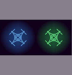 neon drone in blue and green color vector image