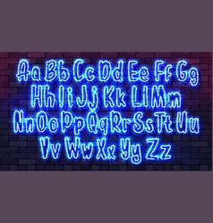 neon futuristic hand font luminous tube alphabet vector image