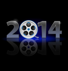 New year 2014 metal numerals with film tape vector
