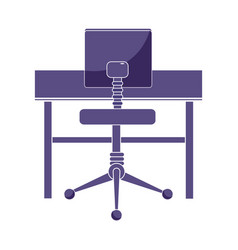 Office wood desk and comfortable chair vector