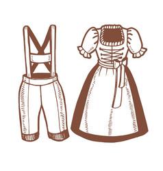 Oktoberfest dirndl and lederhosen in hand drawn vector