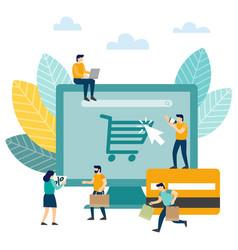 online shopping small people buy things on the vector image
