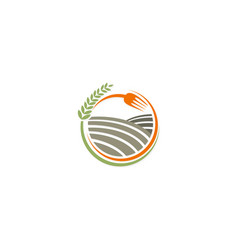 Organic food farmland logo vector