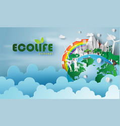 paper art of eco life friendly concept and earth vector image