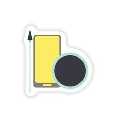 Paper sticker on white background mobile antivirus vector