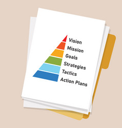 Paper with cascading pyramid from vision mission vector