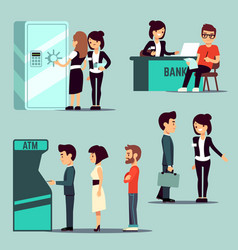 people in bank banking service vector image