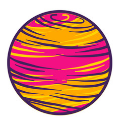 Pink yellow planet icon hand drawn style vector