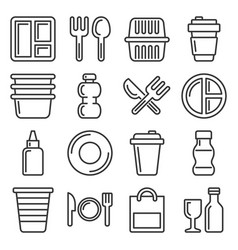 plastic tableware and packaging icons set line vector image