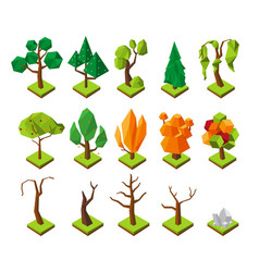 Polygonal isometric trees low poly trees vector