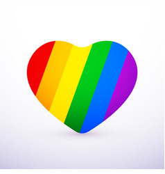 rainbow heart flat icon lgbt community sign vector image