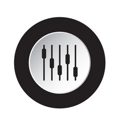 round black white icon - mixing equalizer symbol vector image