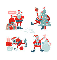 santa clauses set for christmas flat hand drawn vector image
