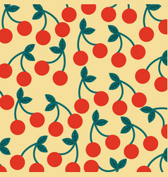 seamless pattern fruit fresh cherry image vector image