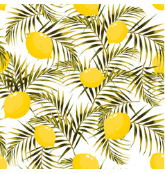 seamless pattern with lemons and green vector image
