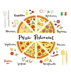 set hand drawn slices of pizza popular vector image
