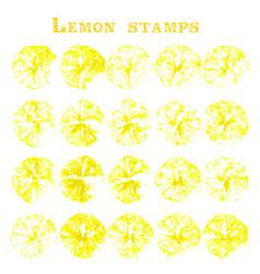set lemon fruit stamps lemon marks on paper vector image