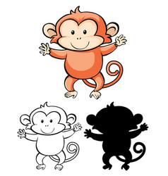 set monkey cartoon vector image