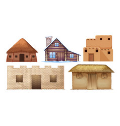 Set of different culture houses vector