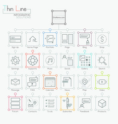 set of modern icons in thin line style vector image