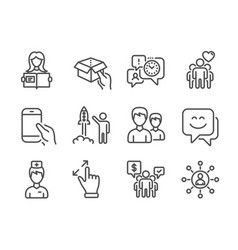 Set people icons such as doctor hold box vector