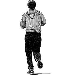 Sketch a casual jogging citizen vector