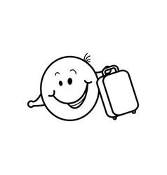 Smiley face traveler with suitcase loving travel vector