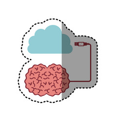 Sticker brain hosting data in cloud storage vector