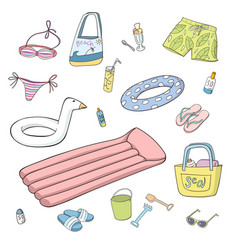 Summer and beach items set colorful vector