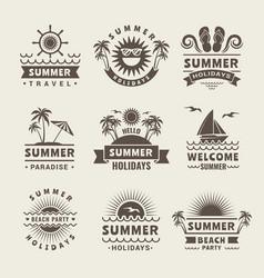 summer badges monochrome labels of vector image