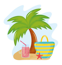 summer holiday poster with hand bag and icons vector image