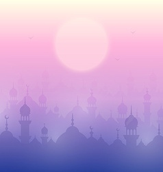 Sunset landscape wallpaper with mosques vector