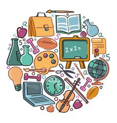 symbols school and education vector image