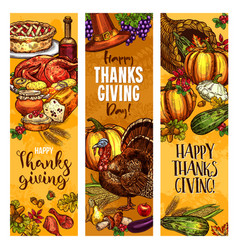 thanksgiving day sketch greeting banners vector image
