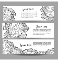 Three banners with beautiful monochrome vector image