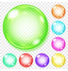 Transparent multicolored glass spheres vector