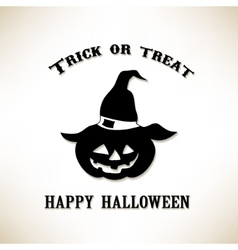 Trick or Treat Pumpkin in the witch hat vector image