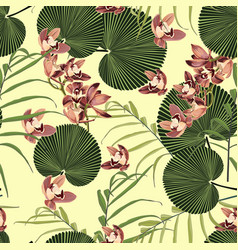 tropical vintage orchid floral green leaves vector image