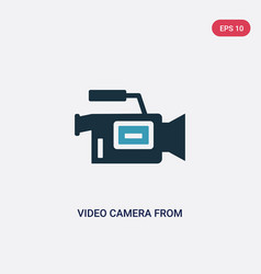 two color video camera from side view icon from vector image