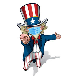 Uncle sam i want you presenting - surgical mask vector