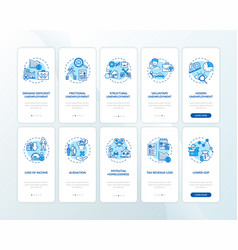Unemployment onboarding mobile app page screen vector