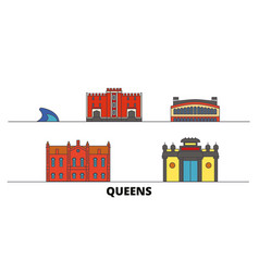 united states new york queens flat landmarks vector image