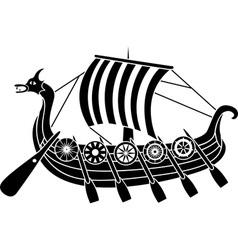 Vikings boat stencil vector